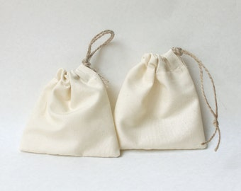 Drawstring calico Party Favour Bags - Choose your own stamp! Stamp printed, choose your own design, plain calico bag x 10