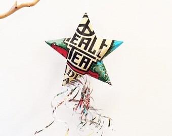 Peace Tea Shooting Star, Christmas Ornaments, Aluminum Can Upcycled, Peace On Earth