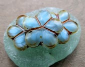 New BLUE SILK POSIES . Czech Pressed Glass Beads . 17 mm (4 beads)