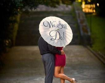 Wedding Parasol Umbrella Vow Renewal Anniversary Ceremony Engagement Sign Banner Decor Parasol Photography Prop