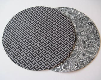 Gray and Black Circular Placemats Set of 2 Reversible Gray Paisley Round Placemats Gray Greek Key Placemats Gray Table Decor Black Kitchen