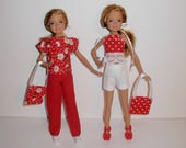 Cute mix and match outfits for barbies' sister Stacie vintage or modern dolls. Handmade barbie clothes