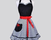 Sweetheart Retro Apron / Black Half-Inch Dots on White Ruffled Hemline and Red Trim Womens Vintage Full Cute Pin Up Apron Gift for Her