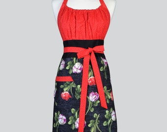 Cute Kitsch - Retro Red and Black Spring Tulips Floral Vintage Style Chef Apron for Easter or Mothers Day Gifts for Her
