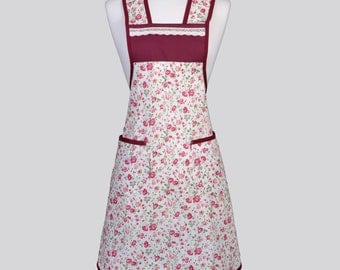 Chef Apron / Lace and Roses Complete the Appeal of this Berry Rose Buds on Ivory Womens Kitchen Cooking Apron Design Perfect Gift for Her