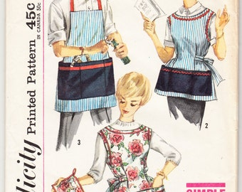 Vintage 1959 Simplicity 3206 Sewing Pattern Misses' and Mens' Aprons and Pot Holder Size Small (10-12)