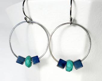 Turquoise and Lapis Earrings, Lapis and Turquoise Earings. Blue Hoop Earrings, Sterling Silver