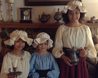 Custom Colonial Dress Girls Colonial Skirt Blouse Costume Civil War Pioneer Prairie
