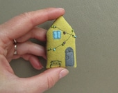 Tiny HOUSE brooh. lemon yellow with turquoise blue window, twinkle lights and bench