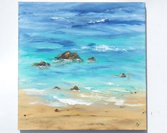 Large beach painting of shoreline in blue, turquoise, large ocean painting, square 24x24