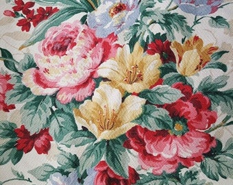 Vintage Barkcloth Era Fabric 2.72 Yrds Huge Bouquets Tulips Hollyhocks Peonies Vat Print