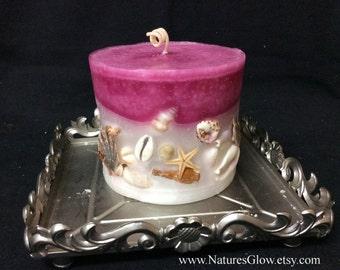 Seashell Candle, Beachy Gift, Beach House Decor, Tropical Candle, Ocean Decor, Sangria Candle, Beach Candle, Nautical Decor, Pillar Candle