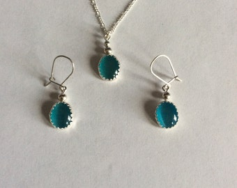 Sterling Silver and Turquoise Cat's Eye Stone Earring Necklace and Pendant Set