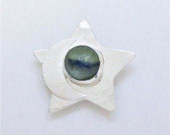 Sea Glass Jewelry - Sterling Half Sea Glass Marble Moon & Star Pendant