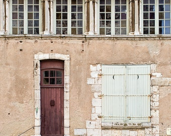 Door Photograph, France Travel Photography, Doors Decor French Print, Gift, Chartres, Wanderlust Wall Art - Little Brown Door