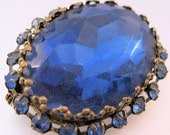 Black Friday Cyber Monday Vintage Big Blue Rhinestone Faceted Glass Brooch Jewelry Jewellery