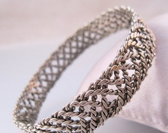 SALE Ends 1/17 Silver Woven Braided Wire Bangle Bracelet Vintage Jewelry Jewellery