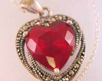 Vintage Art Deco Style Marcasite Sterling Silver Red Heart Stone Pendant Necklace Jewelry Jewellery