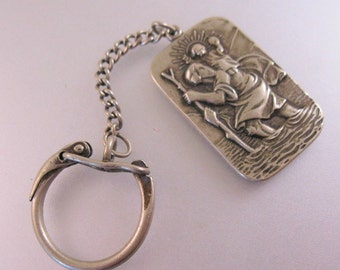 Mexican Saint Christopher Medal Keychain Fob 1954 Advertising Mexico Embotelladora de Tampico Bottling Company Nickel Silver
