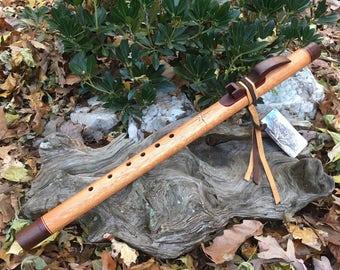 Native American Style Flute, Red Grandis and Walnut Key of F# from Tree of Life Designs