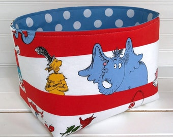 Organizer Basket, Storage Bin, Gift Basket, Dr. Seuss Nursery Decor, Home Decor, Container, Diaper Storage, Dr. Seuss