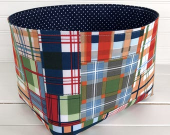 Nursery Decor,Storage Bin,Organizer Basket,Bin,Fabric Basket Bin,Red,Blue,Plaid,Maras Plaid Nursery,Boy Nursery Decor