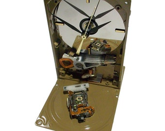 "Unique Desk Clock, Computer Hard Drive Clock with Caramel Latte Finish. ""Got Coffee Lover"" Office Gift?"
