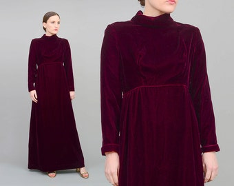 60s Burgundy Red Velvet Dress, Mod Empire Waist Maxi Dress, Long Sleeve Gothic Dress, 1960s Holiday Party Formal Dress Small Medium S M