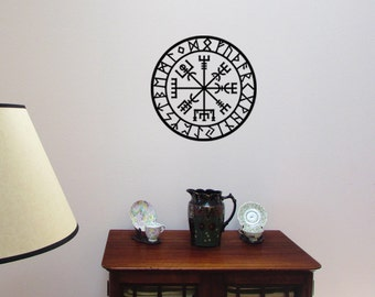Vegvisir Rune Circle Viking Symbol Vinyl WALL ART Decal Pagan Norse Asatru Iceland