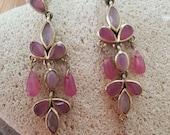 SALE... Gorgeous Chandelier Gemstone Gold Tone Long Earrings. Jade Earrings. Chandelier Earrings. Long Gemstone Danglers.