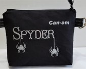 Can-Am Spyder zipper pouch with silver glitter spiders and silver sequin fabric