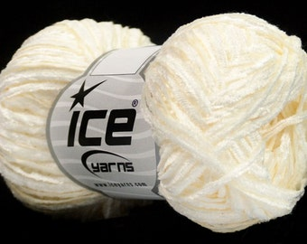 Chenille Light Yarn - Cream White #45783 - Ice DK 50 Gram 109 Yards Soft!