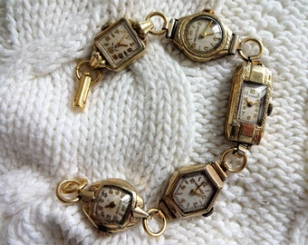 Old Vintage Ladies Gold Watch Watches Face Charm Bracelet Steampunk Altered Art Repurposed Recycled