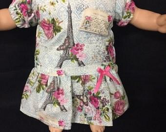 15 Inch Doll Dress Paris Dress Eiffel Tower Dress Roses Dress Handmade Fits Like Bitty Baby or Bitty Twin