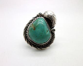 Vintage Southwestern Ring Turquoise and Silver Pretty Silverwork Marked CBT