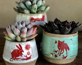 Mini planter - Mini succulent pots - Desk planters -  cactus planter - desk organizers - Pottery Cups - Gold accent
