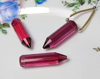 Three Fuschia Hot Pink QUARTZ Faceted Fancy Pencil Shape Pendants
