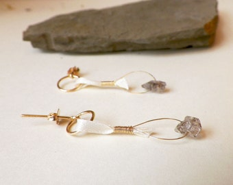 Delicate White Silk Earrings, dainty mineral ear posts, white ribbon post earrings, unique boho bridal jewelry, white and gold wedding
