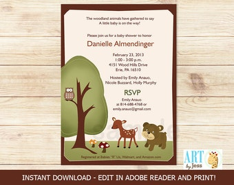 Woodland Deer, Bear, and Owl Nature Forest Theme Baby Shower or Birthday Invitations Printable Digital EDITABLE TEXT Instant Download File