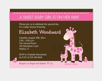 Pink Giraffe Girl Baby Shower Invitations | Pink and Brown Design | Printable JPG or PDF Personalized bs-075