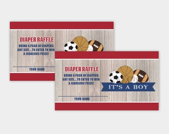 Rustic Sports Theme Boy Baby Shower Diaper Raffle Card, All Stars Sports Printable PDF INSTANT DOWNLOAD bs-060