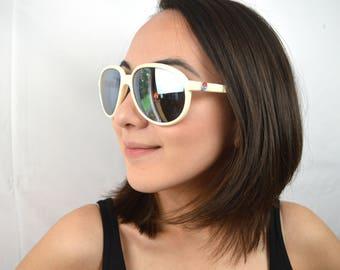 Vintage White Mirrored Aviators Ski Sunglasses - Made in Taiwan