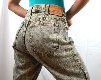 Vintage 80s Gap Work Force Black Acid Washed Jeans