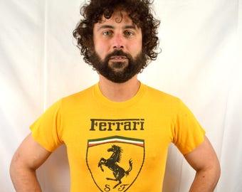 Vintage 1980s Yellow Rare Ferrari Tee Shirt Tshirt