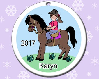 Girl on Horse Personalized Christmas Ornament