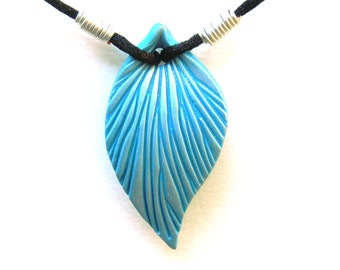 Turquoise Leaf Necklace, Blue green, Silver Highlights, Polymer Clay Pendant, Sculpted Leaf, Black Cord, Silver Plated Wire, Customizable