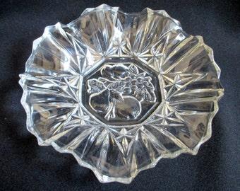 Pressed Glass Bowl, Brilliant Glass, Candy Dish, Handkerchief edge, Glass Serving Dish, Fancy Glass, Trinket Dish
