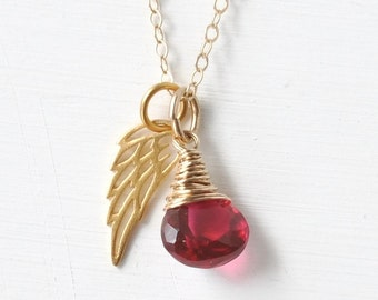 Miscarriage Necklace with July's Birthstone Ruby Red Hydroquartz / Delicate Gold Angel Wing Necklace / Infant Loss Condolence Gift