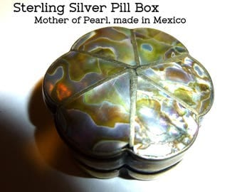 """Pill Box. Mexican Silver and Mother of Pearl Abalone. Vintage Circa 1940s. Early Marks. 10 Grams Tiny Pill Box. 1.25"""" Diameter."""