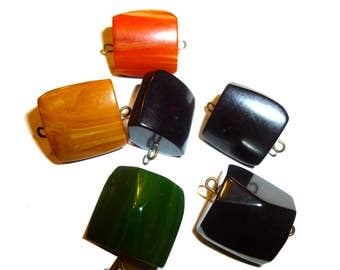 Bakelite Carved Pieces, Pendants, Charms or Jewelry Findings. Six Pieces circa 1940s Yellow, Orange, Green,Brown.